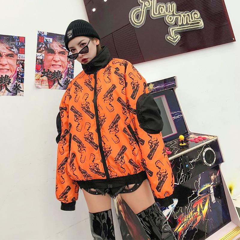 Haut Coton Fermeture Hiver À Casual Col Femmes Pistolet Nouvelle Impression Wear Manteau Parkas Poche Éclair Bx4z8q