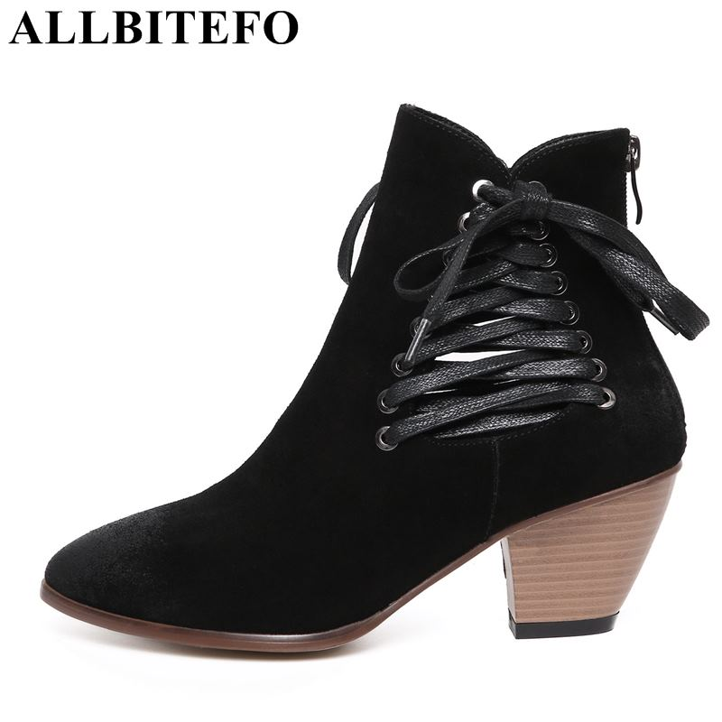 ALLBITEFO fashion brand Nubuck leather pointed toe thick heel women boots high heels ankle boots winter snow boots girls shoes krazing pot new arrival pointed toe thick heel fashion chelsea boots runway winter shoes classic women rivets ankle boots l33