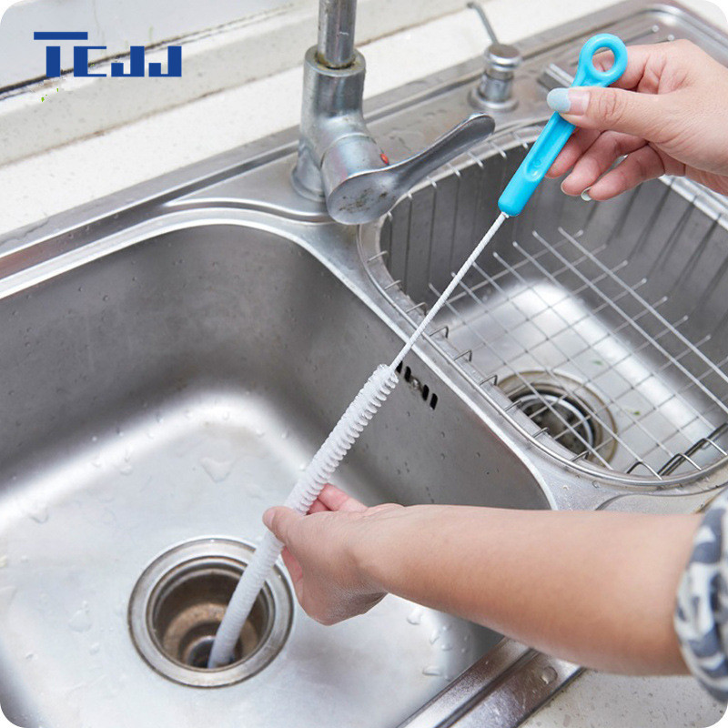 Kitchen Bathroom Sewer Cleaning Brush,Home Bendable Sink Tub Toilet Dredge Pipe Snake Brush Tools