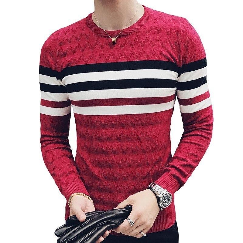 Pull en tricot à rayures hommes Slim Fit Pullvoer hommes Pull Over col rond jacuzzi mâle chandail Erkek Kazak coréen hommes vêtements de mode
