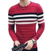 Stripe Knit Sweater Men Slim Fit Pullvoer Men Pull Over Round Neck Jacuqard Male Sweater Erkek Kazak Korean Men Fashion Clothing