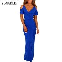 2017 Azul Royal Sólida Ombro Frio Jersey Vestidos de Cintura Alta V Pescoço Verão Das Mulheres Estiramento Partido Maxi Vestido Magro Robe H61546