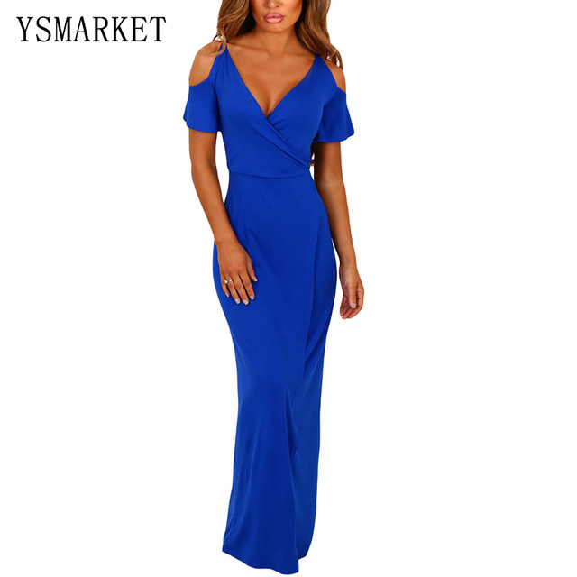 7068a98b5db Royal Blue Solid Cold Shoulder Jersey Dresses High Waist V Neck Women  Summer Stretch Party Maxi Dress Slim Robe H61546