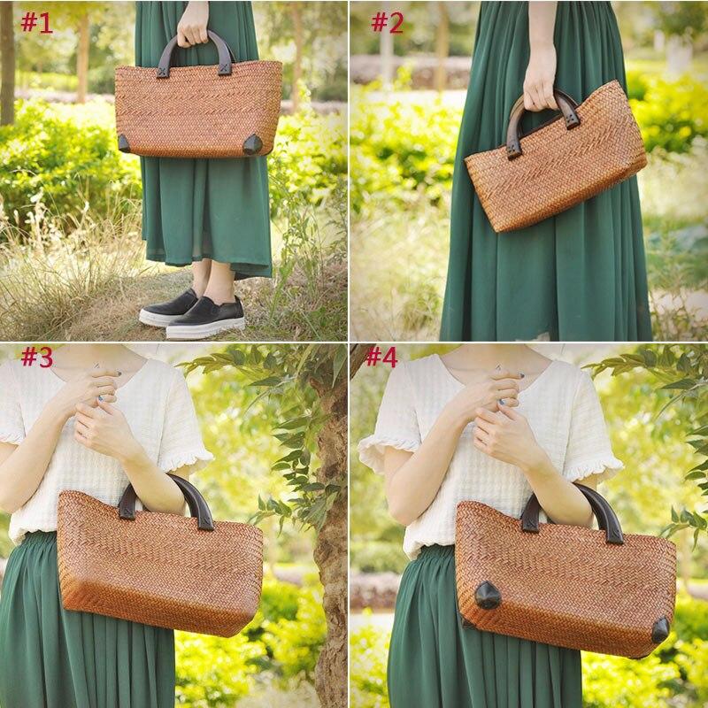 ФОТО Fashion Women Durable Weave Straw Beach Bag Woven Bucket Bag Grass Casual Tote Handbags Rattan Bags LBY2017