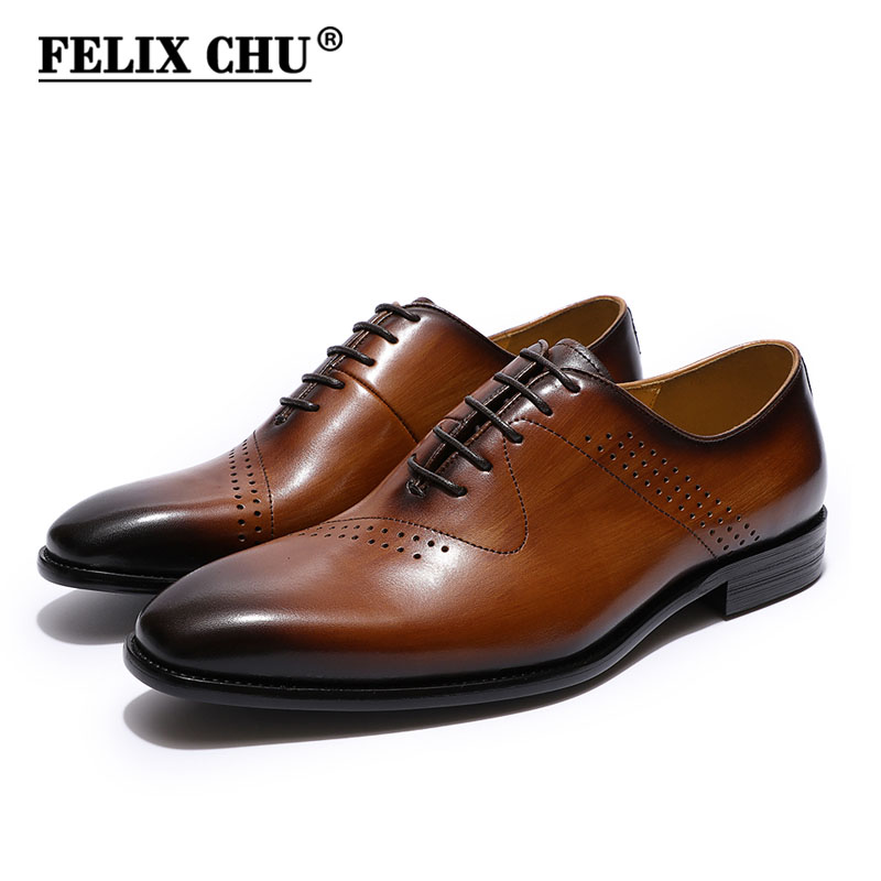 FELIX CHU Men's Handmade Brogue Oxfords Genuine Leather Dress Shoes Brown Blue Party Office Formal Shoes Luxury Mens Shoes