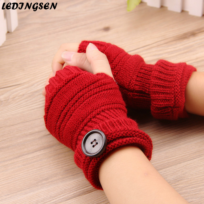 LEDINGSEN Winter Autumn Knitted Warm Gloves Women Half Finger Fingerless Gloves Yellow Wrist Mittens Halloween Mens Fall Fashion