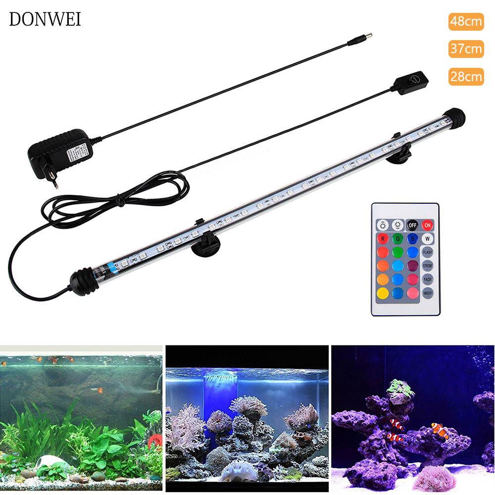 28CM 37CM 48CM  LED Fish Tank Aquarium LED Light 5050 SMD RGB Light Bar IP68 Waterproof Submersible Lamp EU/US/UK/AU Plug