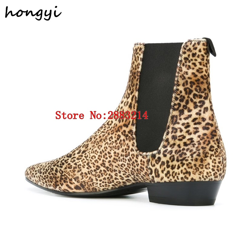 pretty nice 46450 3b0ba US $83.25 11% OFF|Leopard print leather boots European fashion ankle boots  men chelsea boots male party shoes street style man casual shoes-in Chelsea  ...