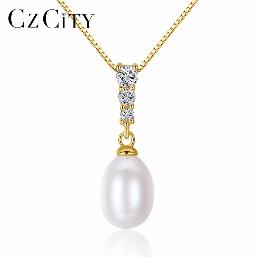 CZCITY Natural Freshwater 8-9mm White Pink Purple Pearl Silver Chain Necklace for Women Cubic Zirconia Pendant Fine Jewelry Gift