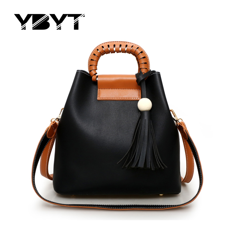 YBYT brand 2017 new joker leisure tassel ladies handbags hotsale PU leather comp