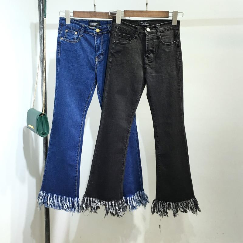 Unique Design Woman Tassel Denim Wide Leg Pants Fashion Sexy Tassel Ankle Length Trousers Elastic Female