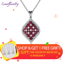 LOVERJEWELRY Solid 18K White Gold Natural Diamond Ruby Wedding Pendant Genuine Gemstone Trendy Jewelry for Women Gift No Chain 18 k gold natural ruby jewelry set