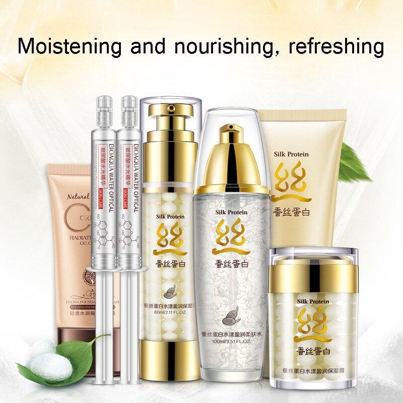 7 pièces BIOAQUA soie protéine Aqua ensemble de soins de la peau hydratant en profondeur acide hyaluronique liquide Anti-rides collagène Essence crème Kit