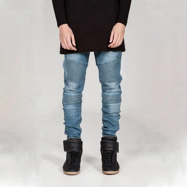 e683587fdde1 Hot Sale Mens Skinny Biker Jeans Slim Fit Stretch Denim Fabric Hip Hop Jean  Pants Washed Biker Denim EUR Size 4 Colors GAJ050