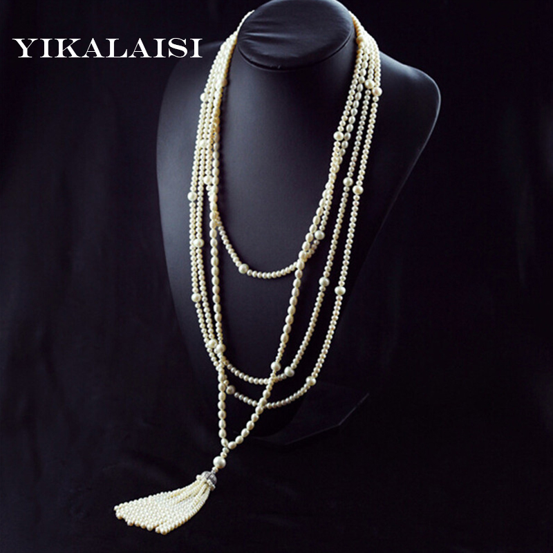 YIKALAISI 2017 new Fashion Long Multilayer Pearl Necklace Freshwater Pearl Choker Charm Jewelry For women best gift