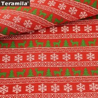 Teramila Linen Fabric Red Sewing 50cmx150cm Quilting Printed Christmas Deers Trees Snowflake Patterns Crafts For Sewing
