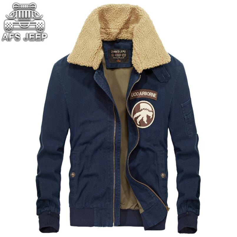 2018 Collar Afs Loose Casual blue Otoño Nuevo Collar With Blue Militar Bombardero Fur green Estilo Jeep Jaqueta Air Marca Chaquetas Collar Force khaki One Denim No Invierno Collar Masculina Hombres cqvqSWY7