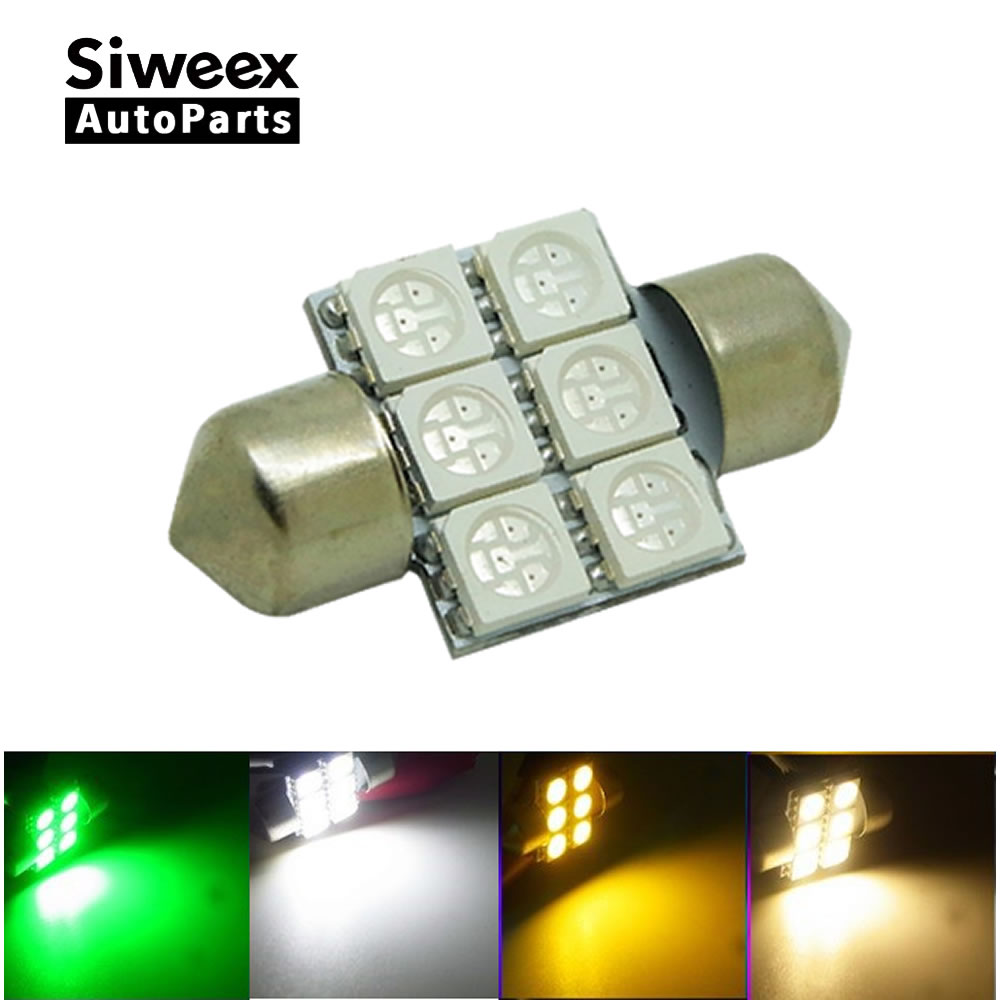 31mm 6-SMD 5050 DE3175 DE3022 LED Bulbs For Car Interior Dome Light Lamp White/Warm/Green/Yellow DC 12V lexing lx ymd 001 e27 5w 580lm 3500k 69 5050 smd led warm white light lamp white yellow