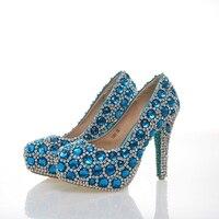 Синий кристалл Золушка обувь для выпускного бала 43 размер для Для женщин туфли со стразами Свадебная вечеринка на высоком каблуке Zapatos de la