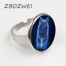 ZBOZWEI 2018 New Nordic Wiccan Wolf Ring Jewelry Glass Photo Cabochon gift Private custom