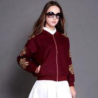 High End Embroidery Jacket Women Fashion Loose Baseball Uniform Female Plant Flower Pattern Bomber Jacket Autumn