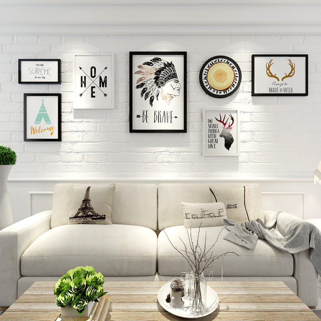 Hanging Wall Mural Wood Home Photo Frame 7 Piece Big Size Decoration ...