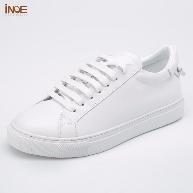 Inoe/модные модели из натуральной коровьей кожи повседневные весенне-осенние кроссовки Свадебная обувь для женщин на плоской подошве обувь для отдыха белый, черный, красный