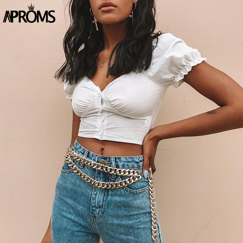 Aproms Vintage V-Neck Ruched Crop Top Women Sexy Buttons Down White Tank Tops Summer Cool Girls Streetwear Slim Fit Tees 2019