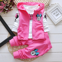 Girl Outfits Childrens Leisure Suits Hooded Vest T Shirts Pants Cartoon Printing 3pcs Set New Kids