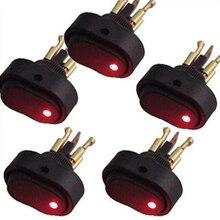 5 pcs Red LED Light 12V 30Amp 30A Car Boat Auto Rocker SPST Toggle Switch P19
