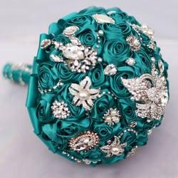Чирок голубой розы брошь букет свадебные украшения невесты букеты 8 дюймов