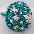 Teal blue rose broche ramo decoración de la boda artículos de la dama de honor ramos de 8 pulgadas