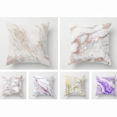Marble Square Home Decorative Throw Pillow Case Car Sofa Waist Cushion Box Cover
