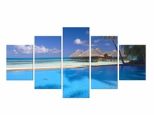 5 Pieces boat Canvas Painting beach On decoracion beauty Wall Art Picture For Living Room Framed