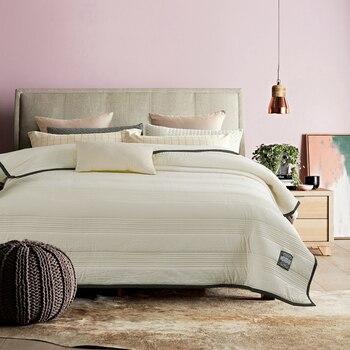 Couette En Lin Lavé   Accueil Textile été Courtepointes Patchwork Jeter Couverture Blanc Lavé Coton Couette 150*200, 200*230 Cm Gris Couvre-lit Linge De Lit Beige