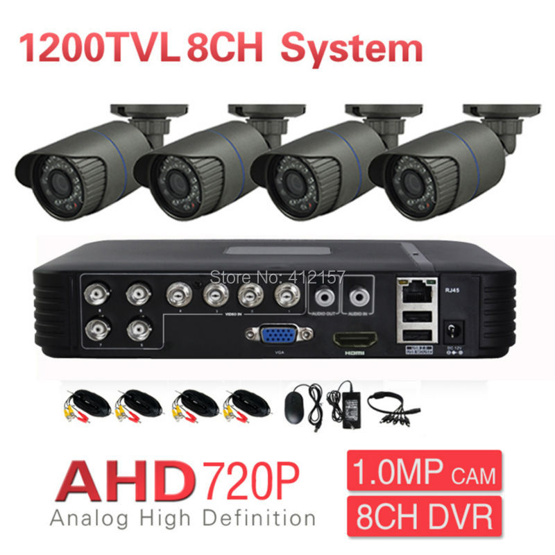 Home CCTV AHD 720P 4CH Security Camera System 8CH DVR 1200TVL Outdoor Day Night IR DIY Surveillance Kit P2P PC Phone Mobile View sannce 8ch 720p ahd dvr 4pcs 1200tvl ir night vision outdoor cctv camera 24 leds home security cctv system surveillance kit