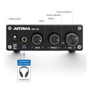 Image 2 - AIYIMA מיני HiFi 2.0 דיגיטלי אודיו מפענח USB DAC אוזניות מגבר 24Bit 96KHz קלט USB/קואקסיאלי/אופטי פלט RCA Amp DC5V
