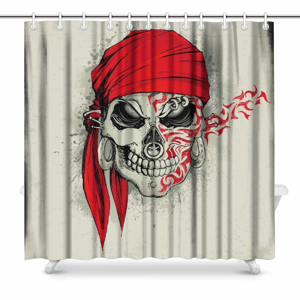 Aplysia Skull With Bandana On Abstract Grungy Background Bathroom Decor Shower Curtain Set Hooks 72 Inches