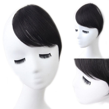 Clip On Bangs Human Hair Side Swept Fringe Extension Front Clip-in Hairpieces Black 网 红 小 姐姐