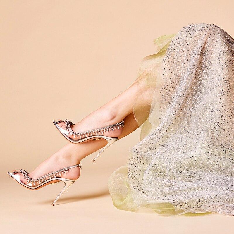 Sandali Degli Alti Talloni 2018 di Estate di Nuovo Che Borda Sexy Peep Toe Sandali Femminili Slip On Trasparente Patchwork Donna Vestito Da Partito di Scarpe - 3