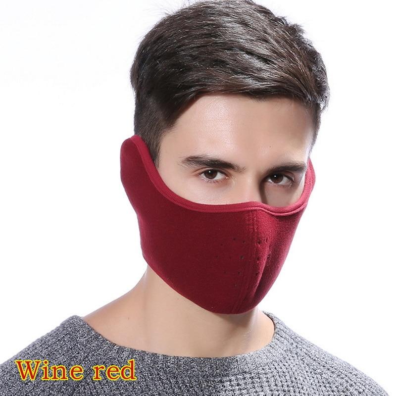 MoneRffi 2 In 1 Unisex Mouth Muffle Cotton Earmuffs Masks Winter Fashion Men Women Outdoor Warm Windproof Half Face Earmuffs