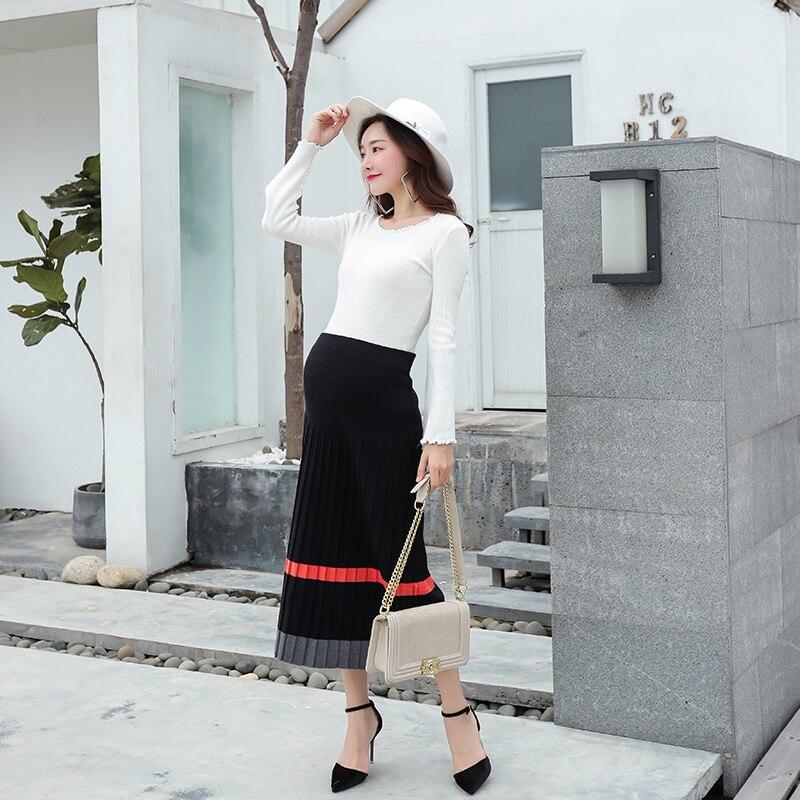 Automne printemps mode coréenne jupes de maternité pour les femmes enceintes taille élastique ventre tricoté longues jupes de grossesse grande taille