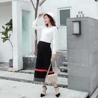 Autumn Spring Korean Fashion Maternity Skirts for Pregnant Women Elastic Waist Belly Knitted Long Pregnancy Skirts Plus size
