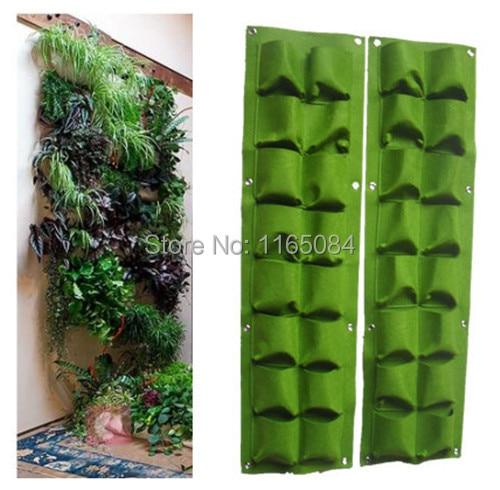 16 τσέπες πράσινη τσάντα αυξάνεται τοίχο κρεμαστά πλακόστρωτο κάθετος κήπος λαχανικών διαβίωσης τσάντα κήπου σπίτι προμήθειες Pocketgarden012
