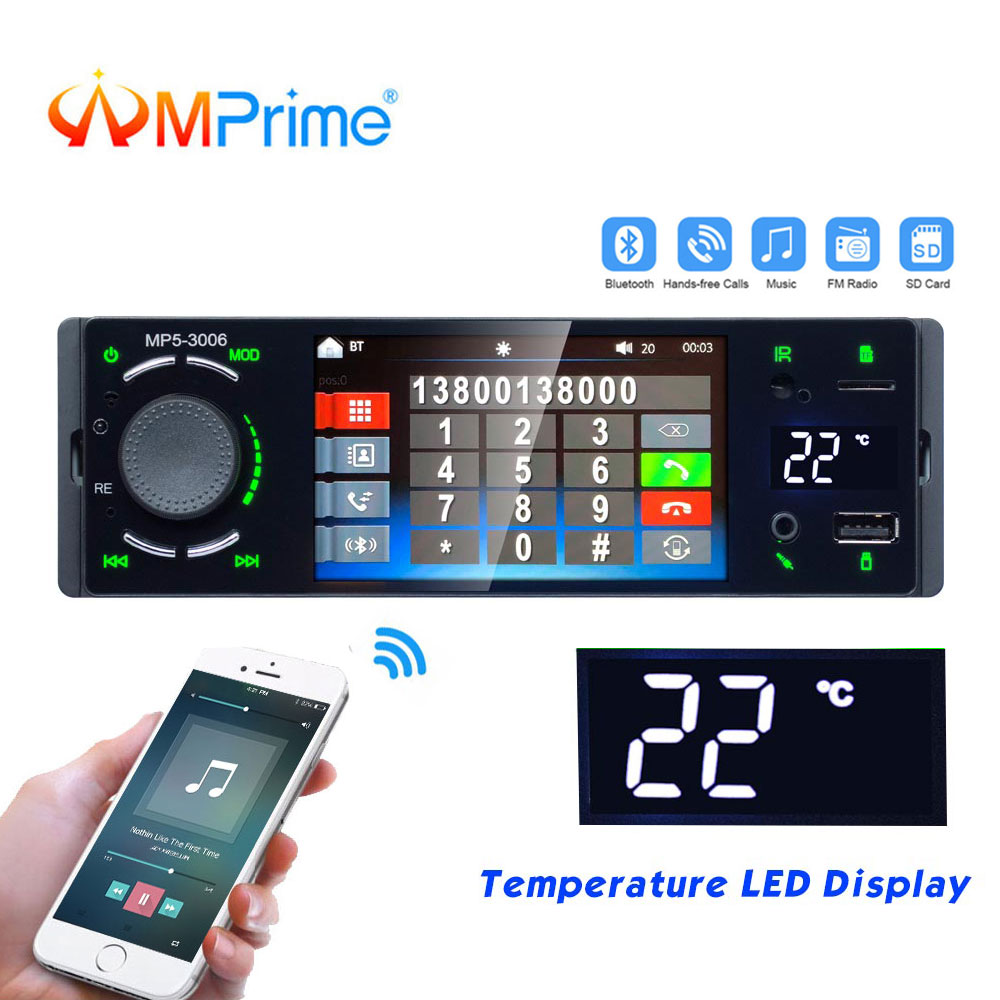 AMPrime 1 Di Car Radio Bluetooth 4″ Autoradio Touch Screen Stereo Audio Video MP5 USB TF Temperature Display Handsfree In-dash