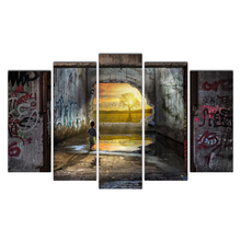 Canvas Painting Vintage Wall Art Frame Printed Pictures 5 Panel Kid And Tree Poster Photo For Living Room Decor Cairnsi