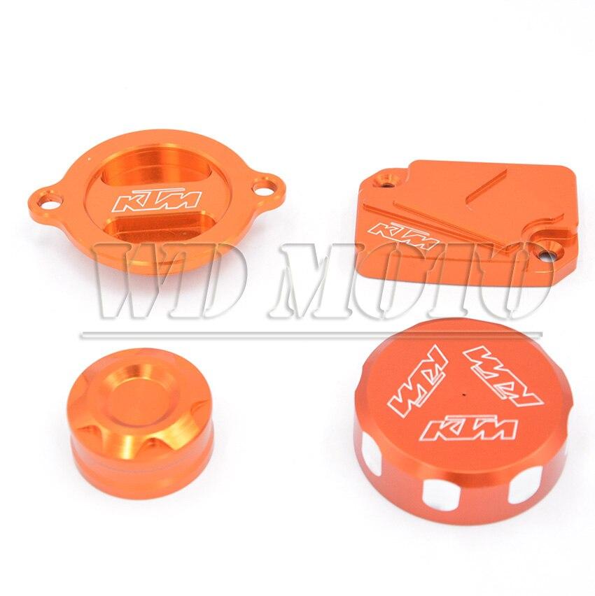 ФОТО CNC Depan &Belakang Master Rem Cyclinder Waduk Topi Penutup Orange Untuk KTM DUKE 125 200 390 RC200 RC390 2012 2013 2014