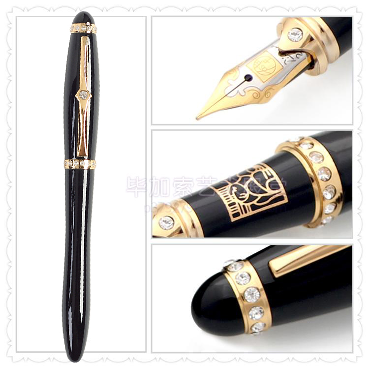 Lady Crystal-studded Fountain Pen 22KGP Gold Nib Picasso 78 Stationery Free Shipping lady crystal studded fountain pen 22kgp gold nib picasso 78 stationery free shipping