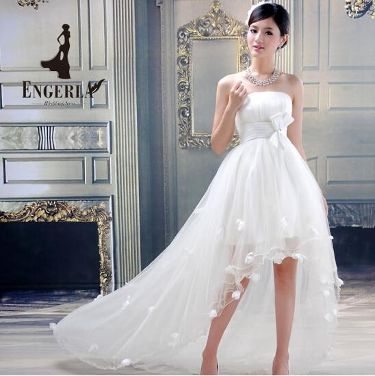 Star Wedding Dress Shop: High Low Front Short Long Back Wedding Dress Lace Up White