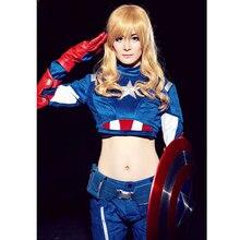 Hot anime cosplay avengers película americana anime super hero i capitán américa femenina cosplay disfraces de adultos tamaño libre